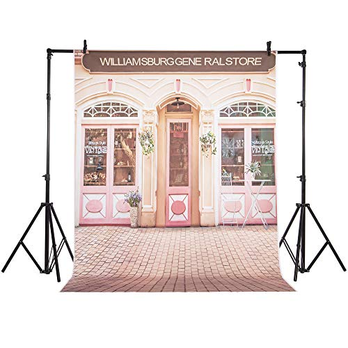 FLORATA 5 x 7ft Backdrop Lovely Pink Store Gate Travel Photography Background Shoots Studio Props Accessories ()
