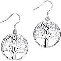 AMBESTEE Tree of Life Fashion Design Sterling Silver Plated Drop Dangle Earrings Pendants Set for Women Girls (Silver)