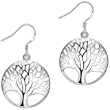 contact us AMBESTEE Tree of Life Fashion Design Sterling Silver Plated Drop Dangle Earrings Pendants Set for Women Girls (Silver)