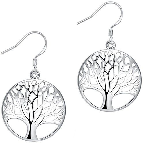 AMBESTEE Tree of Life Fashion Design Sterling Silver Plated Drop Dangle Earrings...