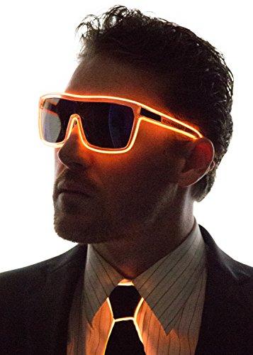 Neon Nightlife Orange Frame/Tinted Single Lens Tron Style Light Up Glasses
