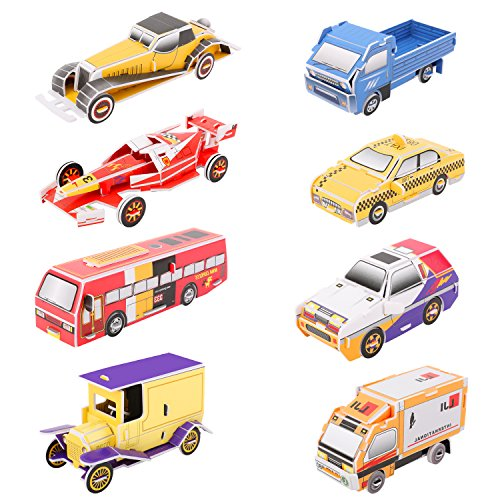 Zooawa 3D Car Puzzle, [8 Vehicles] 3D Paper Vehicle Assortment Puzzle Toy, Child Early Learning Educational Hand Craft Building Jigsaw Set, Brain Teasers Playing Model for Toddler Boys Girls, Colorful