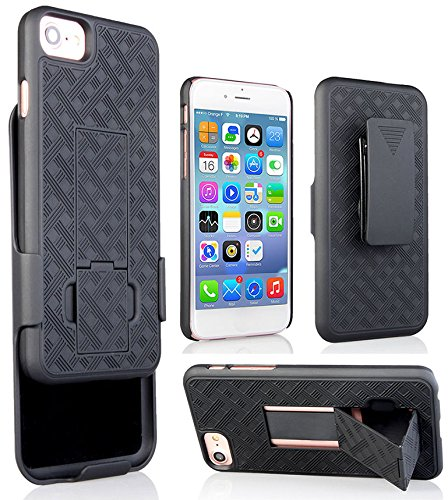 huge inventory 8836b dc16e iPHONE 7 BELT CLIP CASE, NAKEDCELLPHONE'S BLACK RUBBERIZED KICKSTAND CASE  COVER + BELT CLIP HOLSTER STAND FOR APPLE iPHONE 7 (4.7