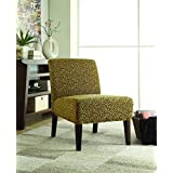 Coaster Contemporary Leopard Accent Chair with Wood Legs