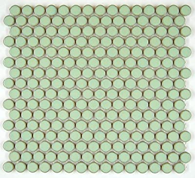 Penny Round Tile Vintage Green Glossy Porcelain Mosaic for Bathroom Floors and Walls, Kitchen Backsplashes, Pool Tile