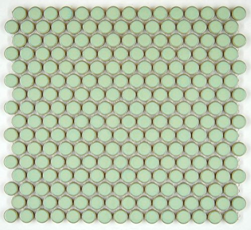 Vogue tile vintage green porcelain kitchen backsplash.
