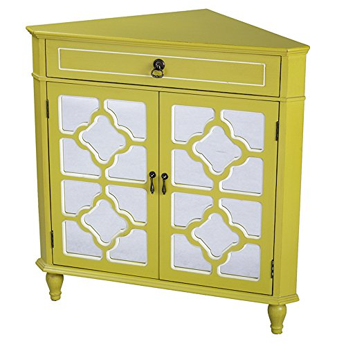 (Heather Ann Creations Modern 2 Door Corner Cabinet with Drawer and 8 Pane Clover Mirror Insert Yellow/White Trim)