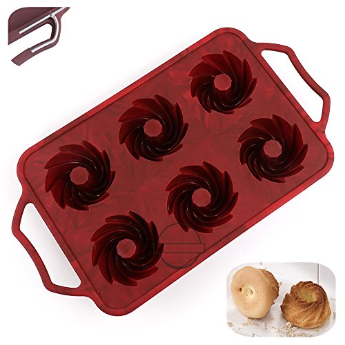 KuXun 6-Cavity Silicone Fancy Bundt Cake, Muffin, Cupcake, Brownie and Cornbread Mold with Handles, Steel Frame to Anti-deformed, Cool Spiral Shape, Non-stick Mini Fluted Tube Cake, FDA Approved