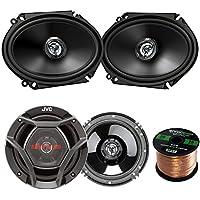 Car Speaker Package Of 2x JVC CS-DR6820 300-Watt 6x8 Inch 2-Way Vehicle Stereo Coaxial Speakers Bundle Combo With 2x CS-DR620 6.5 300W 2-Way Audio Speakers + Enrock 50 Foot 16 Gauge Speaker Wire