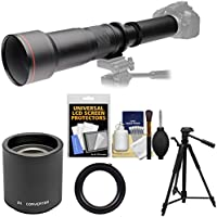 Vivitar 650-1300mm f/8-16 Telephoto Lens with 2x Teleconverter (=2600mm) + Tripod + Kit for Sony Alpha A55, A57, A58, A65, A77 II, A99 Camera