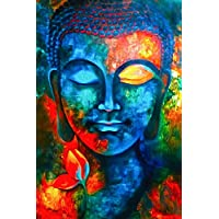 100yellow Paper Buddha Posters, 12x18 Inches (Multicolour)