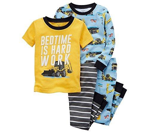 Carters Boys 4-Pc. Construction Snug Fit Cotton Pajamas,Blue/Yellow,24 Months