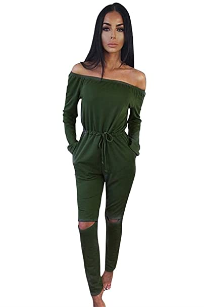 48667172687 Miss Floral® Womens Off Shoulder Long Sleeve Jumpsuit 5 Colour Size 6-20   Amazon.co.uk  Clothing