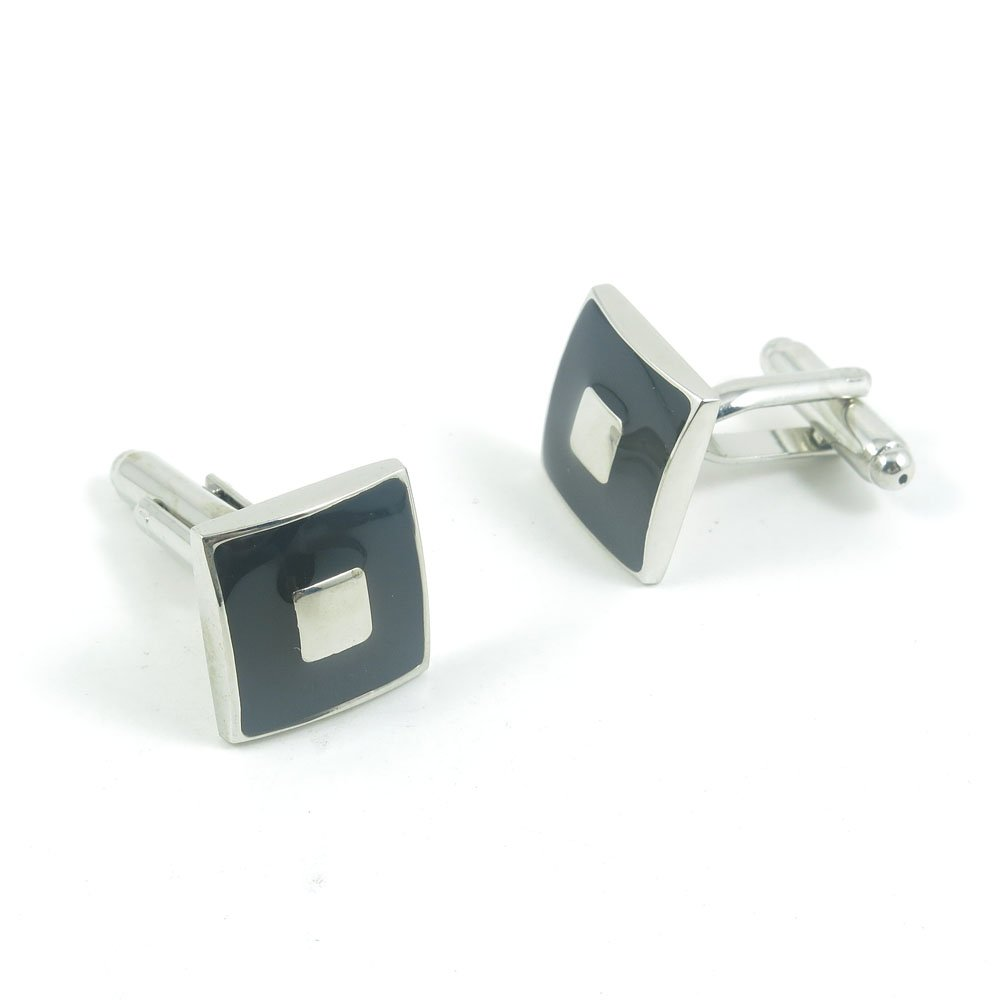 50 Pairs Cufflinks Cuff Links Fashion Mens Boys Jewelry Wedding Party Favors Gift RHA082 Black Silver Square by Fulllove Jewelry