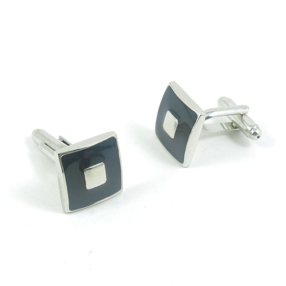 50 Pairs Cufflinks Cuff Links Fashion Mens Boys Jewelry Wedding Party Favors Gift RHA082 Black Silver Square