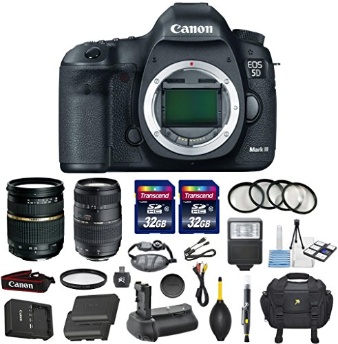 Canon EOS 5D Mark III 22.3 MP Full Frame CMOS Sensor Digital SLR DSLR Camera Bundle with Tamron AF 28-75mm f/2.8 Autofocus Lens & Tamron Auto Focus 70-300mm f/4.0-5.6 Di LD + Accessory Kit (17 items)