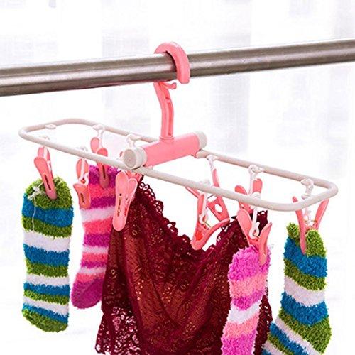 YJYdada 10 Clip Folding Drying Rack Underwear Socks Clip Multi-functional Clothes Rack (Purple) by YJYdada (Image #3)