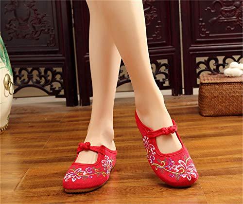Red Danse Brodées Chaussures Femme Petites Rond Cales De Lace Pour Bout flats Chaussures Party Dames Pantoufles Broderie Femmes fxqTR