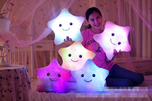 GRACE MARKET, Star Pillow Plush Toys Cute Luminous Pillow Toy Led Light Pillow Glow in Dark Plush Pillow Doll Toys for Children (Glow In The Dark Eye Contacts)