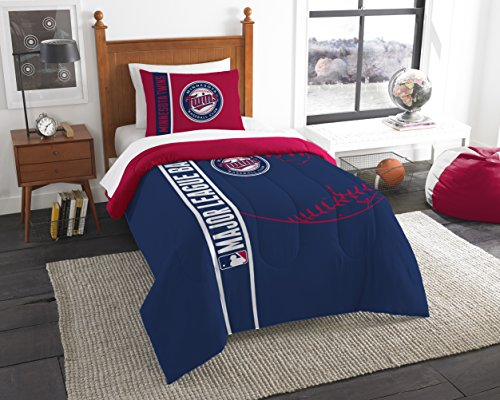 The Northwest Company MLB Minnesota Twins Printed Twin Comforter & Printed Sham, 64