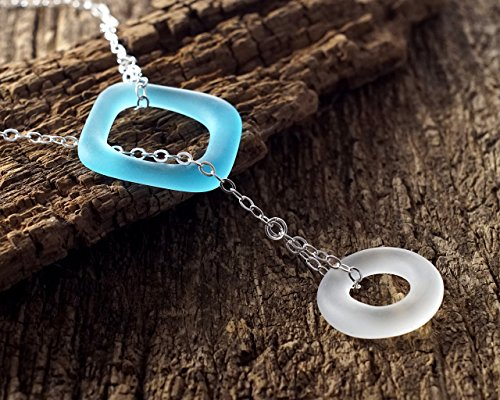Bombay Sapphire Gin Bottle (Gin and Tonic Lariat - Recycled Bombay Sapphire Bottle Pendant Necklace)