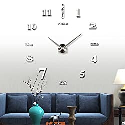 Large 3D DIY Wall Clock Art Frameless Non-ticking Clock Acrylic Mirror Stickers Decorative for Living Room Kitchen Silver