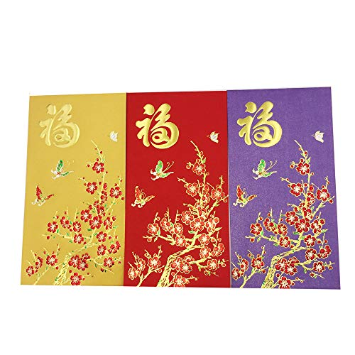 Pinber 30 Pieces Chinese Red Envelopes Hongbao For New Year Lucky and Happiness, Pack of 3 Colors(6.8x 3.6 in)