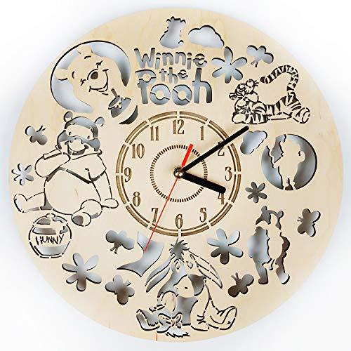 (ShareArt Winnie The Pooh Silent Wood Wall Clock - Original Home Nursery Living Room Bedroom Kitchen Decor - Best Gift for Friends Kids Men Woman - Unique Wall Art Design - Size 12 Inch)