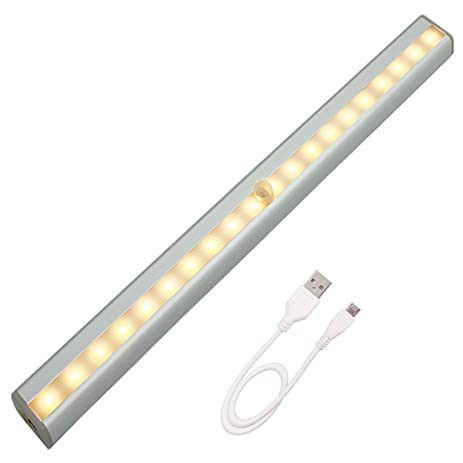 Ustellar LED Rechargeable Motion Sensor Under Cabinet Lighting, 20 LEDs  Cordless Super Brighter Closet Light