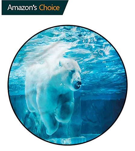 (RUGSMAT Bear Print Area Rug,Arctic Polar Underwater Baby Room Decor Round Carpets Diameter-47)