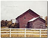 Rustic Farmhouse Landscape Print of Antique Red Barn