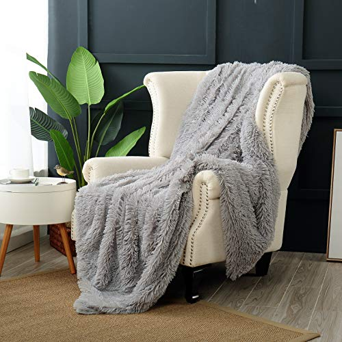 Luxury Throw Blanket - Reafort Luxury Long Hair Shaggy PV Fur Faux Fur Oversized Throw Blanket (Grey, 60