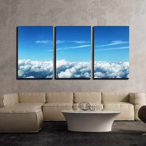 Aerial View of Clouds and Landscape under Them x3 Panels
