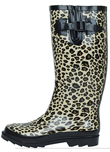 (Sunville New Brand Women's Rubber Rain Boots,8 B(M) US,Leopard)