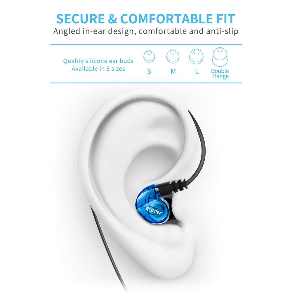 Adorer Auricolari Sport RX6 Stereo In-ear Auricolari con Microfono, IPX4 Impermeabile Cuffie con iPhone,Samsung,HTC e altri Smartphones con Jack Audio di 3,5mm - Blue