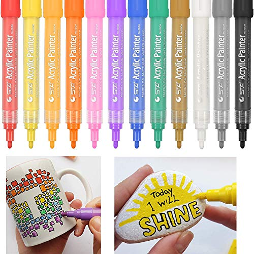 Acrylic Paint Marker Pens, Vetoo Set of 12 Colors Paint Pens Water Based Markers for Rock Painting, Canvas, Photo Album, DIY Craft, School Project, Glass, Ceramic, Wood, Metal