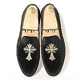 Fulinken Mens Fashion Velvet Slip-on Shoes Round Toe Slippers Mens Casual Embroidered Loafers Black / Blue / Red