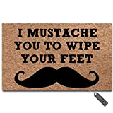 MsMr Funny Door Mat I Mustache You to Wipe Your Feet Doormat Outdoor Indoor Mat Non-Woven Fabric Top Rubber Back 15.7x23.6 Inch