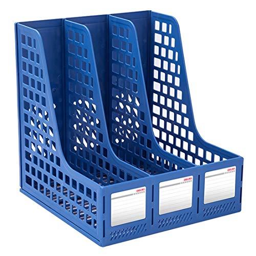 AOFILEHOLDER Plastic Magazine Holder Bracket Desktop Triple/Quad File Divider File Cabinet Rack Display Storage Box Gray Blue (Color : Blue, Size : A-File holder2)