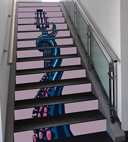 Stair Stickers Wall Stickers,13 PCS Self-adhesive,Octopus Decor,Octopus Tentacle is Holding Guitar Riff Musical Instrument Rock and Roll Modern Artwork,Teal Coral,Stair Riser Decal for Living Room, ()