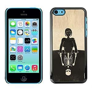 Shell-Star Arte & diseño plástico duro Fundas Cover Cubre Hard Case Cover para Apple iPhone 5C ( Skull Girl Reflection Deep Meaning )