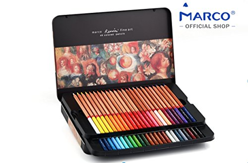 Colored pencils by Marco - Renoir Series | Premium color pencils, Soft core, Vibrant colors, 48 finest color pencils for artist, embedded in fragrant cedar, 3.7 mm extra thick lead in metal box