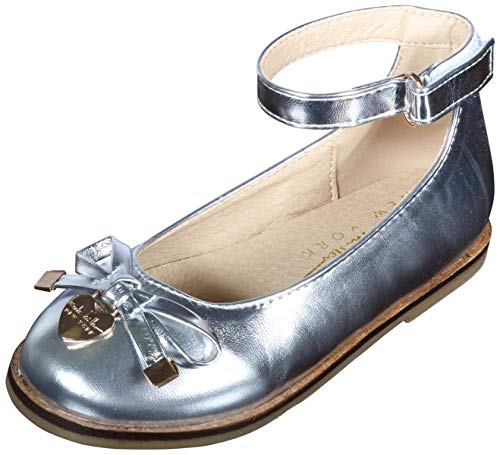 Nicole Miller New York Girls Patent Ankle Strap Dress Shoes (Toddler) (10 M US Toddler, Silver Bow)'