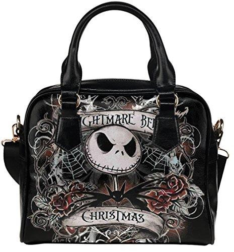 Fashion Female Shell Shoulder Handbag Crossbody Bags with The Nigntmare Before Christamas Jack Pattern