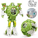 Baztoy Transform Toys Robot Watch 3 in 1 Projection Kids Digital Watch Deformation Robot Toys for 3,4,5-10 Years Old Boys Girls Electronic Learning Gifts