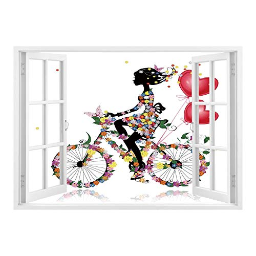 Bike Girls Maya - SCOCICI Peel and Stick Fabric Illusion 3D Wall Decal Photo Sticker/Floral,Flower Girl Bike with Balloons Valentine Bicycle Fairy Fashion Woman Heart Teen Girls Decor Decorative,/Wall Sticker Mural