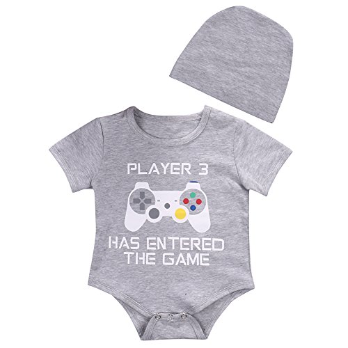 Unisex Baby Short Sleeve Game Print Romper and Hat Outfits Set (9-12 Months)