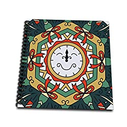 3dRose Alexis Design - Mandala Background - Cheerful Wall Clock New Year Mandala Background. Positive Gift - Memory Book 12 x 12 inch (db_300536_2)