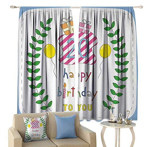 HoBeauty 20th Birthday, Blackout Window Curtain, Sweet Twenty Surprise Party Theme with Balloons Branches and Boxes, Customized Curtains,(W72 x L72 Inch, Green Blue and -