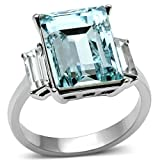 Women's.6 CT RADIANT CUT SEA BLUE CRYSTAL STAINLESS STEEL ENGAGEMENT RING Size 8